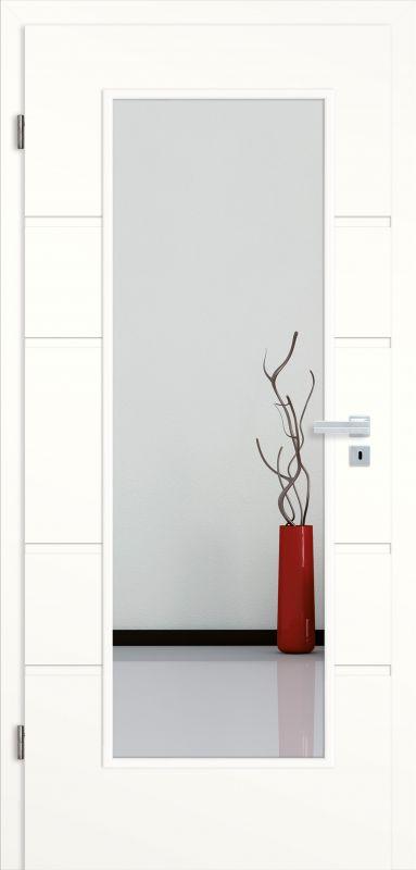 Delightful ... KonturTür Siena SF5 Weißlack 1.0, Eckkante | Lichtausschnitt LA 001 |  Zarge Weißlack 1.0,